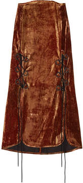 Ellery The Blues Lace-up Crushed-velvet Midi Skirt - Copper