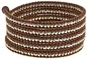 Chan Luu Sterling Silver Bead Brown Leather Multi Wrap Bracelet