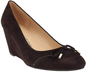 Isaac Mizrahi Live! Suede Round Toe Wedges w/Bow Detail