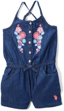 U.S. Polo Assn. Medium Wash Flowers Romper - Infant & Toddler