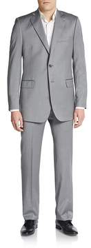 Saks Fifth Avenue BLACK Men's Regular-Fit Herringbone Wool/Silk Suit