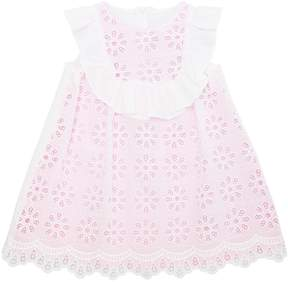 Simonetta Cotton Eyelet Lace & Milano Jersey Dress