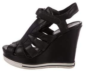Ash Leather Wedge Sandals