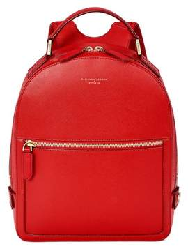 Aspinal of London Small Mount Street Backpack In Scarlet Saffiano