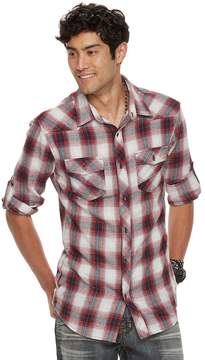 Rock & Republic Men's Roll-Sleeve Plaid Flannel Button-Down Shirt