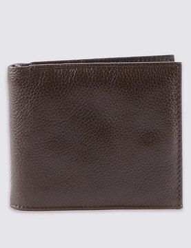 Marks and Spencer Leather Slim Popper Bi Fold Wallet with CardsafeTM