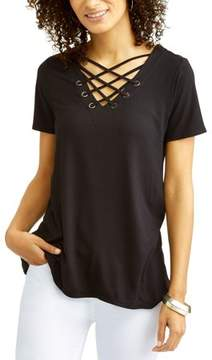 Laundry by Shelli Segal French Women's Criss Cross Grommet Detail Top