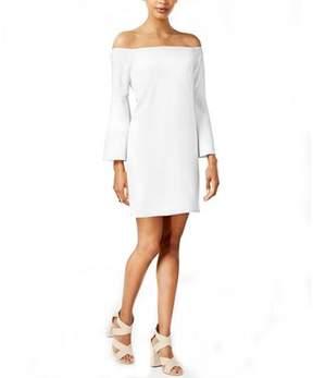 Bar III Off Shoulder Bell Sleeve Dress.