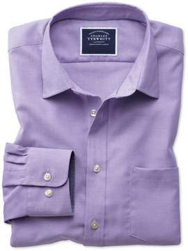 Charles Tyrwhitt Classic Fit Non-Iron Oxford Purple Plain Cotton Casual Shirt Single Cuff Size Small