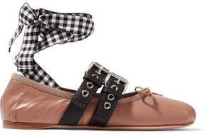 Miu Miu Lace-up Leather Ballet Flats - Pink