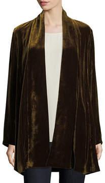 Eileen Fisher Velvet Long Shawl-Collar Jacket
