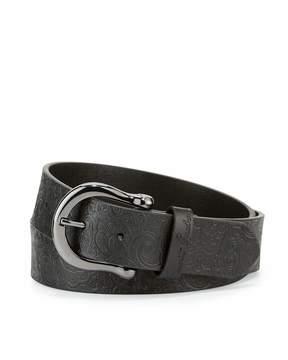 Robert Graham Vince Paisley-Embossed Leather Belt