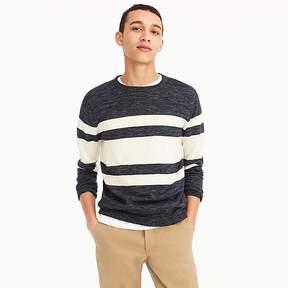 J.Crew Cotton-linen crewneck sweater in heather multistripe