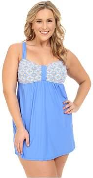 Athena Plus Size Santorini Molded Cup Swim Dress w/ Hidden Hook and Eye Tail One-Piece