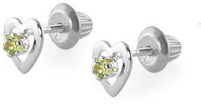 Ice 14K White Gold Peridot Heart Earrings For Girls