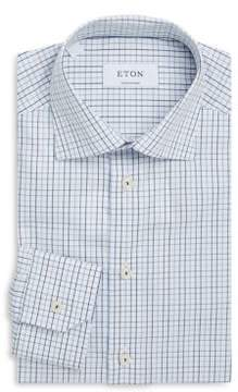 Eton Contemporary Fit Windowpane Cotton Dress Shirt