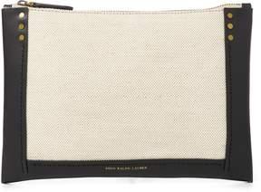Ralph Lauren Leather-Trim Canvas Pouch