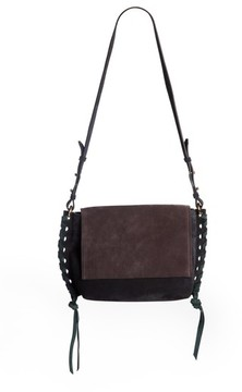 Isabel Marant Asli Colorblock Suede Shoulder Bag - Black