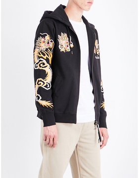 MHI Dragon-embroidered cotton-jersey hoody