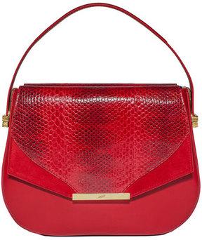 Khirma Eliazov Dee Dee Mini Snakeskin Top-Handle Bag, Red
