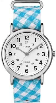 Timex Women's Weekender Watch, Teal Gingham Nylon Slip-Thru Strap
