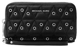 MICHAEL Michael Kors Leather Phone Case Wristlet - BLACK - STYLE
