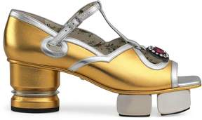 Gucci T-strap leather sandal with sculpted platform