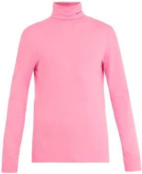 Calvin Klein Logo-embroidered roll-neck cotton top