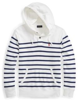 Ralph Lauren Striped Cotton Terry Hoodie White/Deep Atlantic Xs