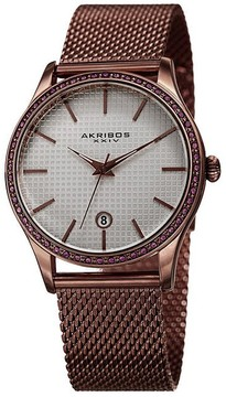 Akribos XXIV Pink Dial Stainless Steel Ladies Watch
