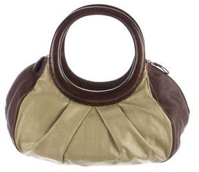 Oscar de la Renta Wooden Top-Handle Hobo