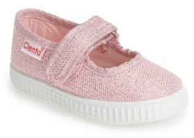 Cienta Infant Girl's Glitter Canvas Mary Jane