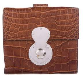 Ralph Lauren Crocodile Ricky Flap Wallet
