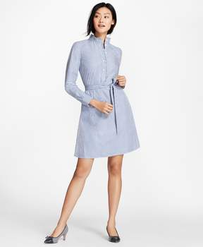 Brooks Brothers Ruffle-Collar Polka-Dot Dobby Striped Cotton Shirt Dress
