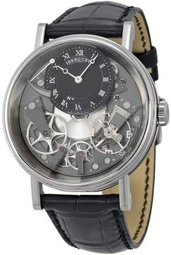 Breguet Tradition Black and Grey Skeleton Dial 18kt White Gold Black Leather Men's Watch