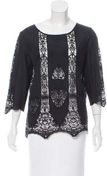 Figue Guipure Lace-Accented Crew Neck Blouse