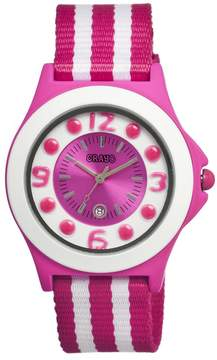 Crayo Carnival Hot Pink and White Dial Hot Pink Stainless Steel Ladies Watch
