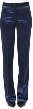 Akris Wide-Leg Elastic-Waist Wool Satin Pants