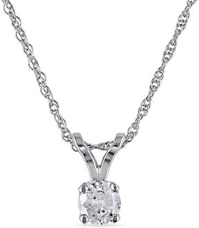 Ice Julie Leah 10K White Gold Solitaire Pendant Necklace with Diamond Accents