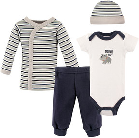 Luvable Friends White & Navy 'Tough Guy' Bodysuit Set - Newborn