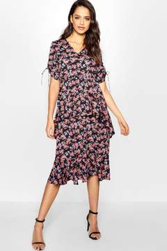 boohoo Tall Ditsy Floral Ruffle Midi Dress
