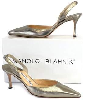 Manolo Blahnik Gold Metallic Leather Slingbacks