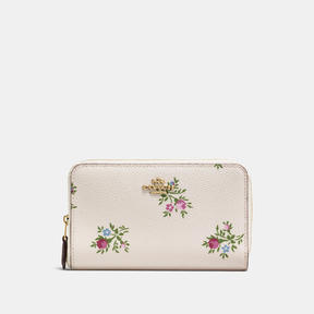 COACH Coach Medium Zip Around Wallet With Cross Stitch Floral Print - LIGHT GOLD/CHALK CROSS STITCH FLORAL - STYLE