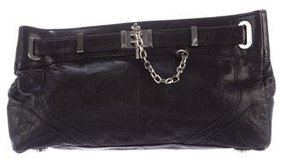 Rachel Zoe Belt-Accented Leather Clutch