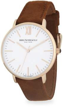 Bruno Magli Men's Stainless Steel and Rose Gold Ion Plated Leather Strap Watch