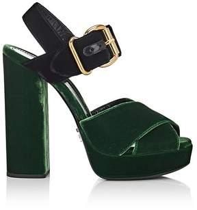 Prada Women's Colorblocked Velvet Platform Sandals