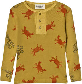 Bobo Choses Yellow Crab Your Hands Buttons Long Sleeve T-Shirt