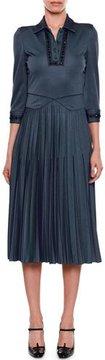 Bottega Veneta Beaded Collared 3/4-Sleeve Pullover Dress with Pleated Skirt
