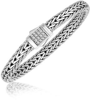 Ice Sterling Silver White Sapphire Accented Braided Men's Bracelet