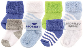 Luvable Friends Blue & White Stripe 'I Love Mommy' Eight-Pair Socks Set - Infant